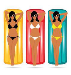 girl in bikini on mattress set vector image vector image