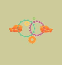 Hands Gears Teamwork vector image