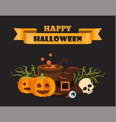 happy halloween ribbon on vector image