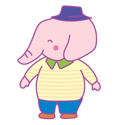 Happy pink elephant man vector
