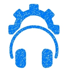 Headphones configuration gear grainy texture icon vector