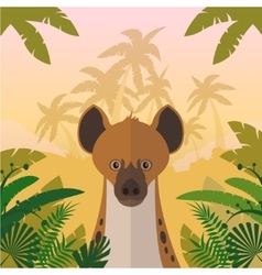 Hyena on the jungle background vector