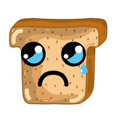 Kawaii cute crying chopped bread vector