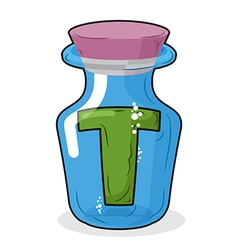 Letter in a laboratory bottle T in magic bottle vector image