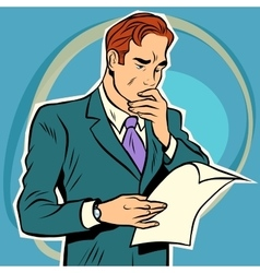 man reading document vector image