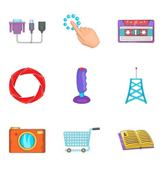 Radio icons set cartoon style vector