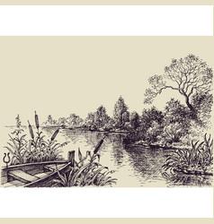 River flow scene hand drawn landscape vector
