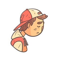 Sad boy in cap and college jacket hand drawn emoji vector