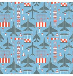 Seamless pattern with military airplanes vector