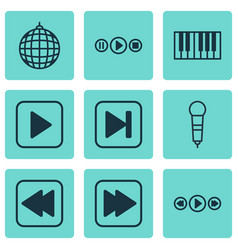Set of 9 music icons includes song ui dance club vector