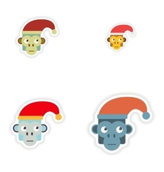 Set of paper stickers on white background monkey vector