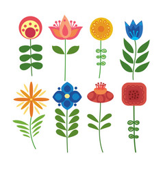 set of stylized flowers collection of vector image