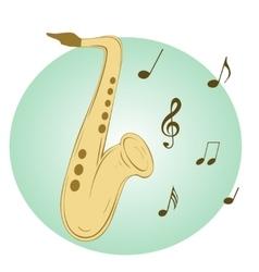 Stylish saxophone on blue background vector