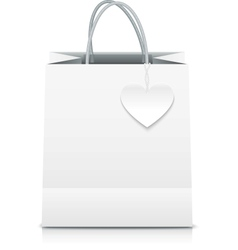 White paper shopping bag with heart label vector image vector image