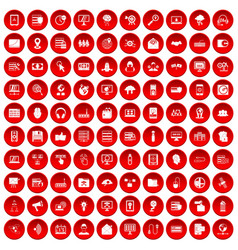 100 cyber security icons set red vector image vector image