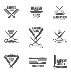 Set of vintage barber shop logos labels badges vector