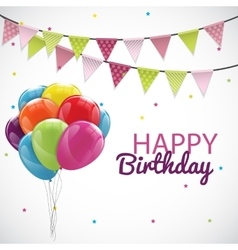 Happy birthday card template with balloons ribbon vector