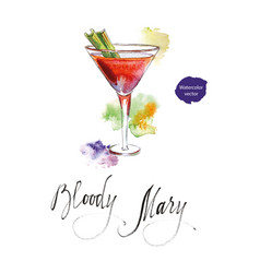Wineglass of cocktail bloody mary with celery vector