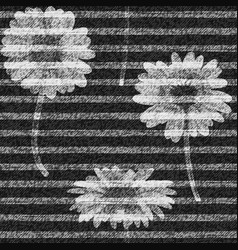 Daisies striped seamless pattern denim vector
