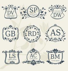 Vintage elegance wedding monograms with floral vector
