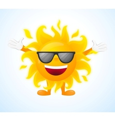 Happy sunny character in sunglasses vector image