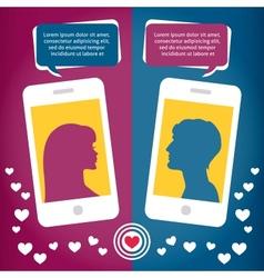 Couple virtual love talking using mobile phone vector image