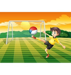 A player kicking the ball with the Czech Republig vector image