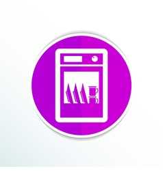 Icon dishwasher dishe washer kitchen clean vector