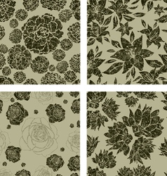 seamless grunge florals vector image