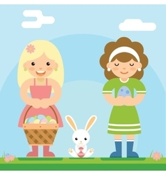 Easter girls with bunny basket egg icon sky vector