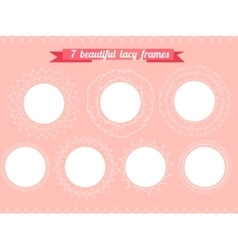 Set with different round frames lacy romantic vector