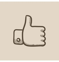 Thumbs up sketch icon vector