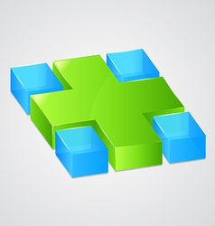 Abstract web green cross vector