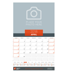 April 2018 wall monthly calendar planner for 2018 vector