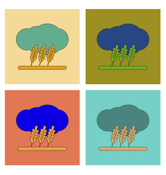 Assembly flat icons wheat cloud vector