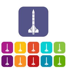 Atomic rocket icons set vector