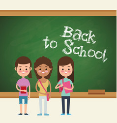 Back to school girls pupil board vector