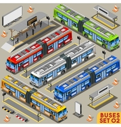 Bus Set 02 Vehicle Isometric vector image vector image
