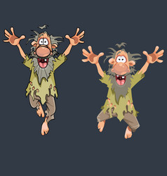 cartoon funny man jumping in different poses vector image