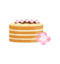 Classy cake with chocolate and flowers decorated vector