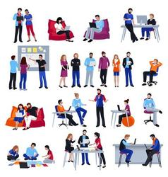 Coworking people isolated icons set vector