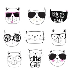Cute Handdrawn Cat Set vector image
