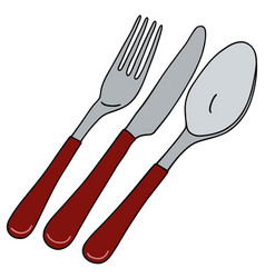 Cutlery with red handle vector