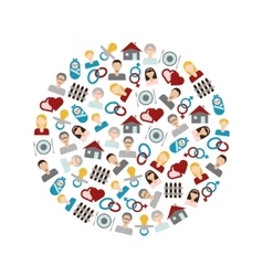 family flat icons in circle vector image vector image