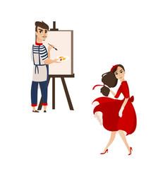 Flat parisian girl boy artist painter set vector