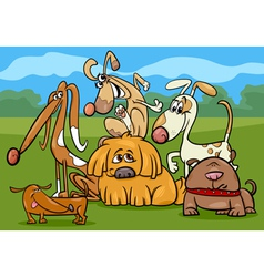 Funny dogs group cartoon vector