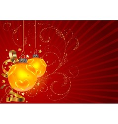 Gold Christmas Balls And Floral vector image vector image