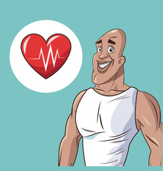 Healthy man athletic heart beat icon vector