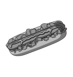 Hot dog single icon in monochrome stylehot dog vector