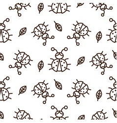 Ladybug and outline leaves on white seamless vector